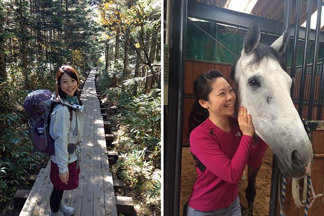 休日には登山や温泉など、自然の空気に触れる。最近は富士通乗馬部にも所属。
