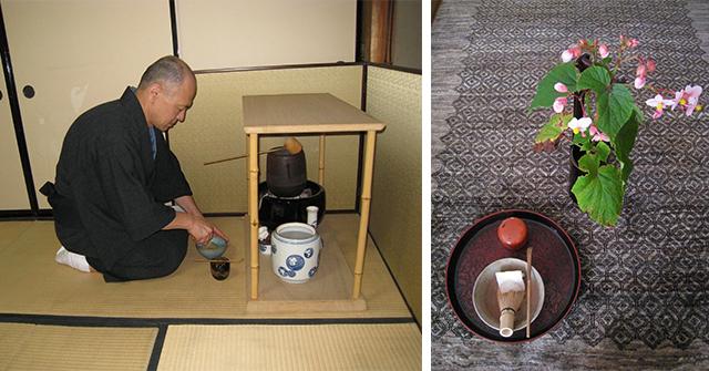座禅や茶の湯との関わりが、小林さんのキャパシティをまた新たな方向に広げている。 写真右はお気に入りの茶道具と実家の夏花「秋海棠(しゅうかいどう)