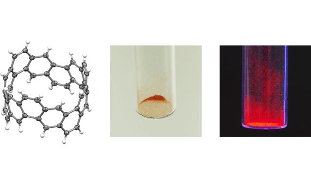 「カーボンナノベルト」の構造解析図(左)と合成した「カーボンナノベルト」の固体(中央)とその蛍光発光(右)