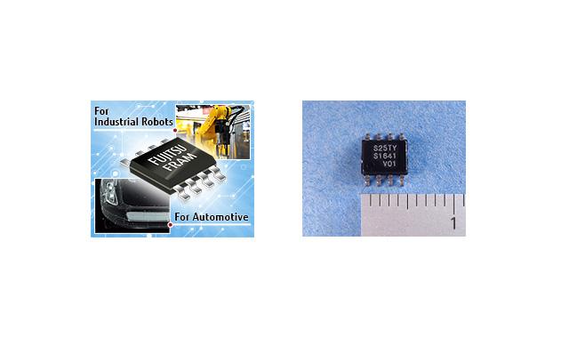 (左)アプリケーションの例 (右)MB85RS256TYのパッケージ