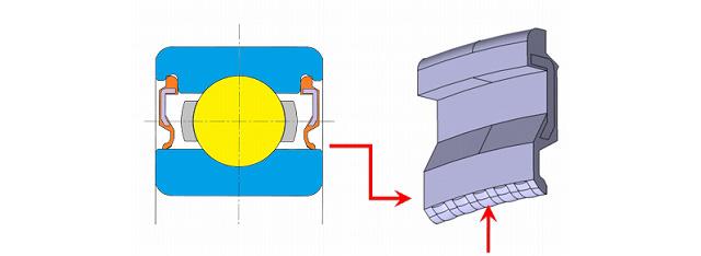 (左)開発品の断面図 (右)開発シールに設けた円弧状の微小突起